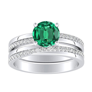 ALISON  Classic  Green  Emerald  Wedding  Ring  Set  In  14K  White  Gold  With  0.50  Carat  Round  Stone