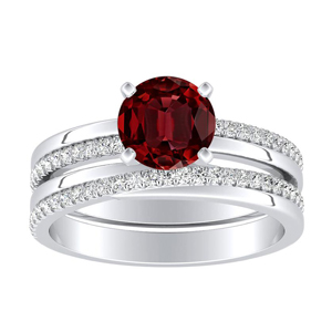 ALISON  Classic  Ruby  Wedding  Ring  Set  In  14K  White  Gold  With  0.50  Carat  Round  Stone