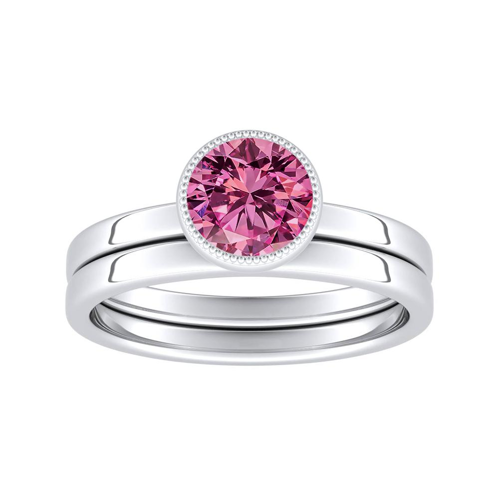 LANA Solitaire Pink Sapphire Wedding Ring Set In 14K White Gold With 0.50 Carat Round Stone