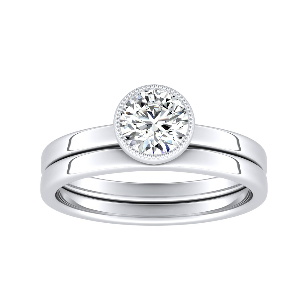 LANA Solitaire Diamond Wedding Ring Set In 14K White Gold