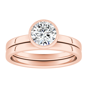 LANA Solitaire Diamond Wedding Ring Set In 14K Rose Gold With 0.50ct. Round Diamond
