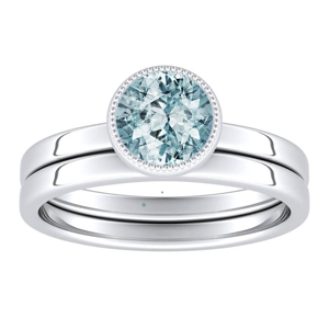 LANA  Solitaire  Aquamarine  Wedding  Ring  Set  In  14K  White  Gold  With  1.00  Carat  Round  Stone
