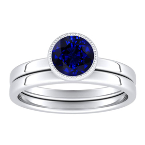 LANA  Solitaire  Blue  Sapphire  Wedding  Ring  Set  In  14K  White  Gold  With  0.50  Carat  Round  Stone