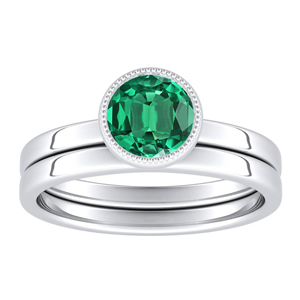 LANA  Solitaire  Green  Emerald  Wedding  Ring  Set  In  14K  White  Gold  With  0.50  Carat  Round  Stone