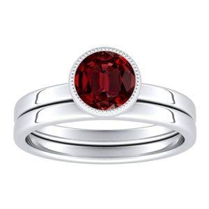 LANA  Solitaire  Ruby  Wedding  Ring  Set  In  14K  White  Gold  With  0.50  Carat  Round  Stone