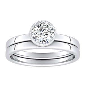 LANA  Solitaire  Moissanite  Wedding  Ring  Set  In  14K  White  Gold  With  0.50  Carat  Round  Stone