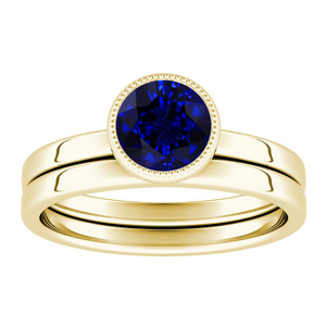 LANA  Solitaire  Blue  Sapphire  Wedding  Ring  Set  In  14K  Yellow  Gold  With  0.50  Carat  Round  Stone