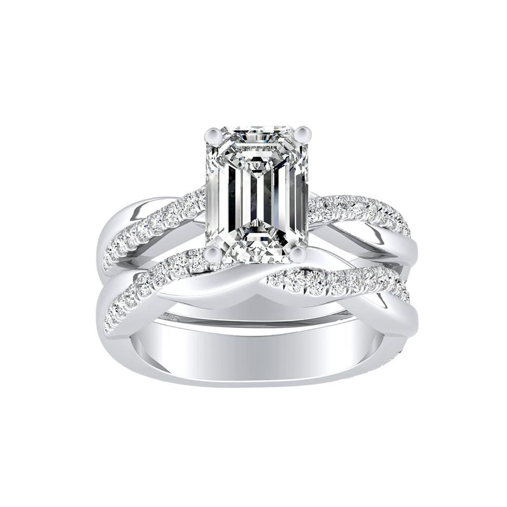VIOLA Modern Diamond Wedding Ring Set In 14K White Gold