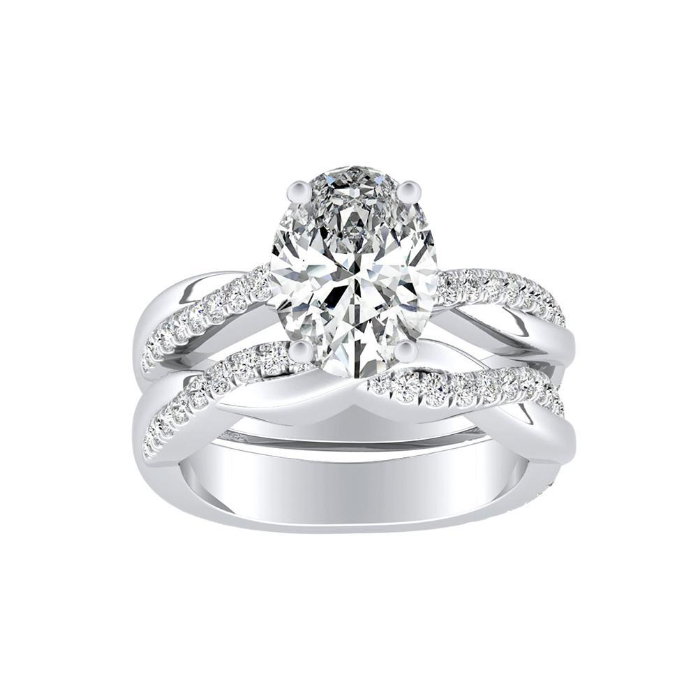 VIOLA Modern Diamond Wedding Ring Set In 14K White Gold
