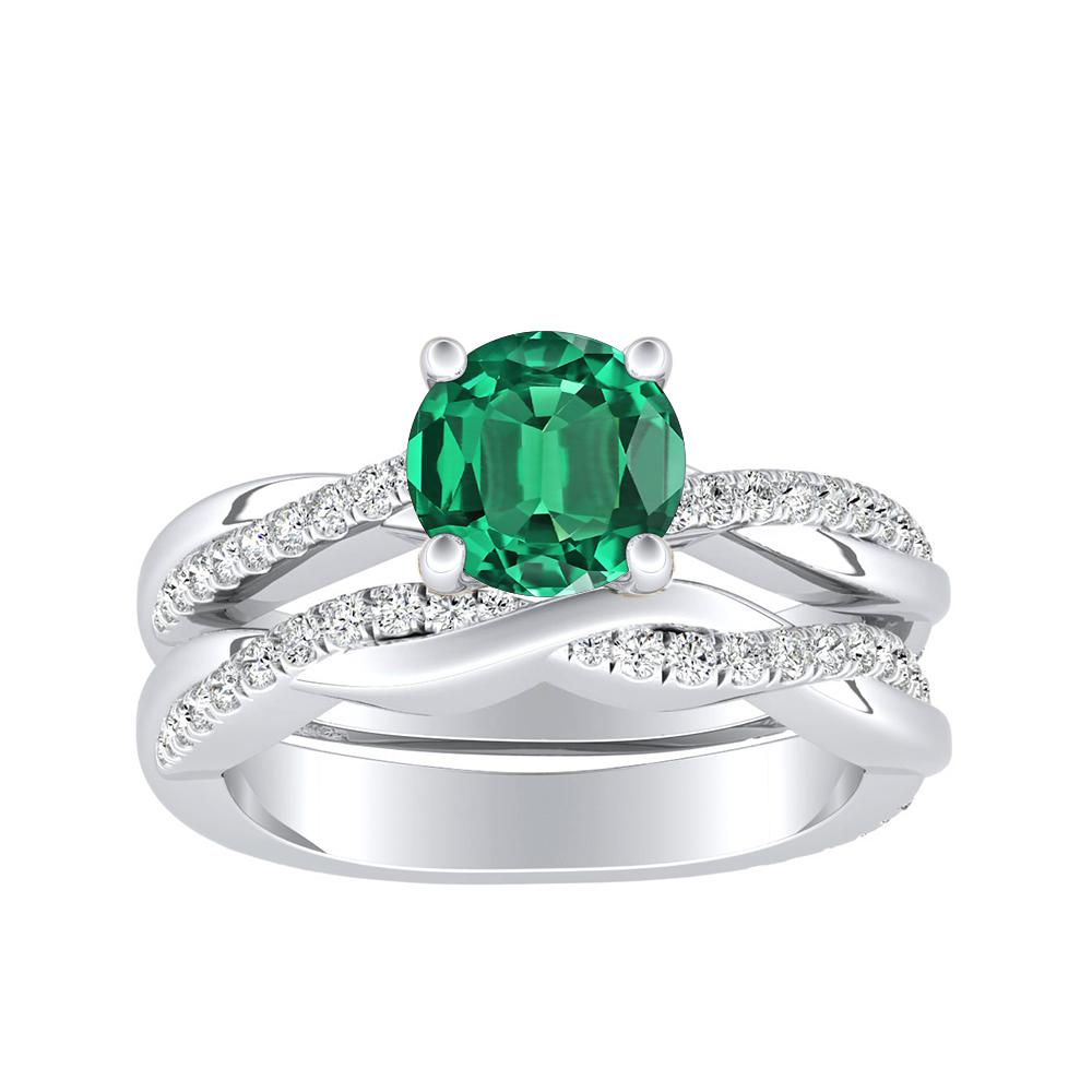 VIOLA Modern Green Emerald Wedding Ring Set In 14K White Gold With 0.50 Carat Round Stone