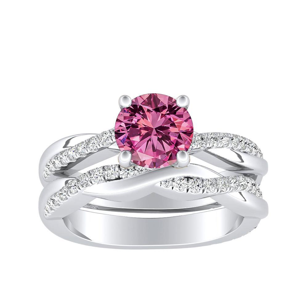 VIOLA Modern Pink Sapphire Wedding Ring Set In 14K White Gold With 0.50 Carat Round Stone
