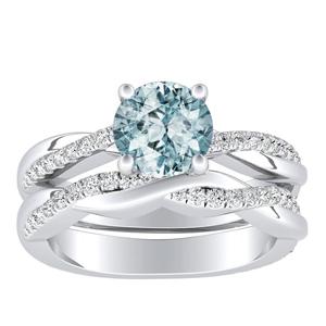 VIOLA  Modern  Aquamarine  Wedding  Ring  Set  In  14K  White  Gold  With  1.00  Carat  Round  Stone