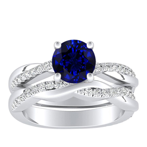 VIOLA  Modern  Blue  Sapphire  Wedding  Ring  Set  In  14K  White  Gold  With  0.50  Carat  Round  Stone