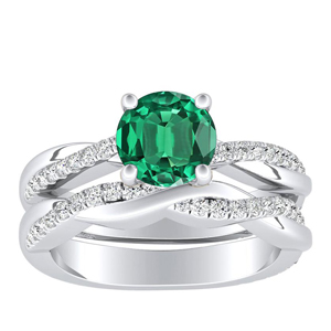 VIOLA  Modern  Green  Emerald  Wedding  Ring  Set  In  14K  White  Gold  With  0.50  Carat  Round  Stone