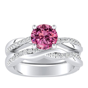 VIOLA  Modern  Pink  Sapphire  Wedding  Ring  Set  In  14K  White  Gold  With  0.50  Carat  Round  Stone
