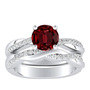 VIOLA  Modern  Ruby  Wedding  Ring  Set  In  14K  White  Gold  With  0.50  Carat  Round  Stone