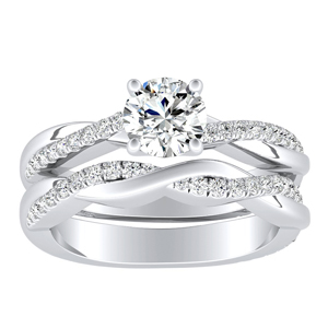 VIOLA Modern Diamond Wedding Ring Set In 14K White Gold With 0.50ct. Round Diamond