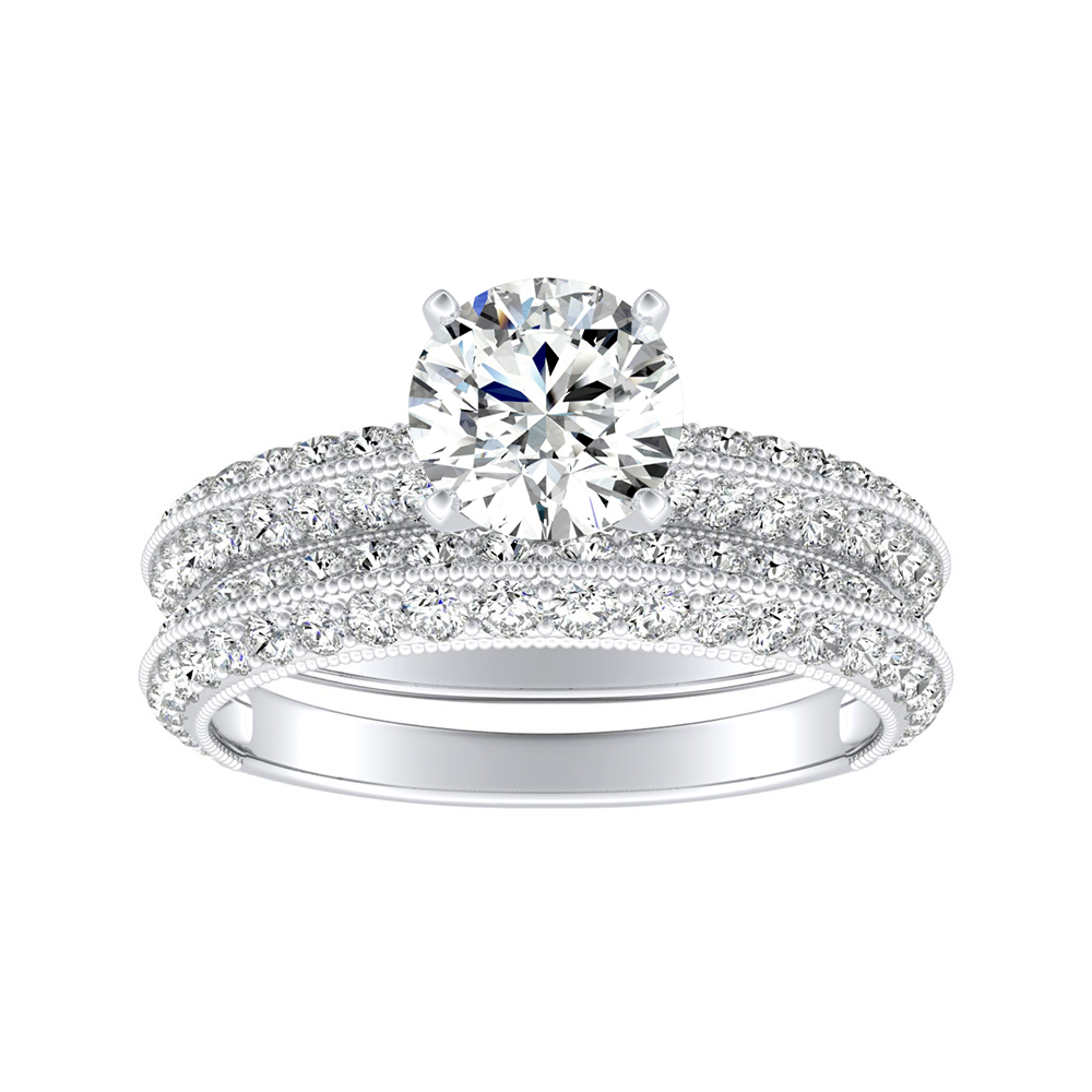 ZOEY Diamond Wedding Ring Set In 14K White Gold