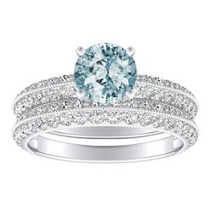 ZOEY  Aquamarine  Wedding  Ring  Set  In  14K  White  Gold  With  1.00  Carat  Round  Stone