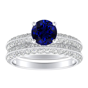 ZOEY  Blue  Sapphire  Wedding  Ring  Set  In  14K  White  Gold  With  0.50  Carat  Round  Stone
