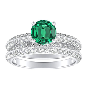 ZOEY  Green  Emerald  Wedding  Ring  Set  In  14K  White  Gold  With  0.50  Carat  Round  Stone