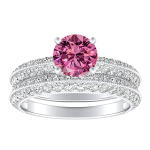 ZOEY  Pink  Sapphire  Wedding  Ring  Set  In  14K  White  Gold  With  0.50  Carat  Round  Stone
