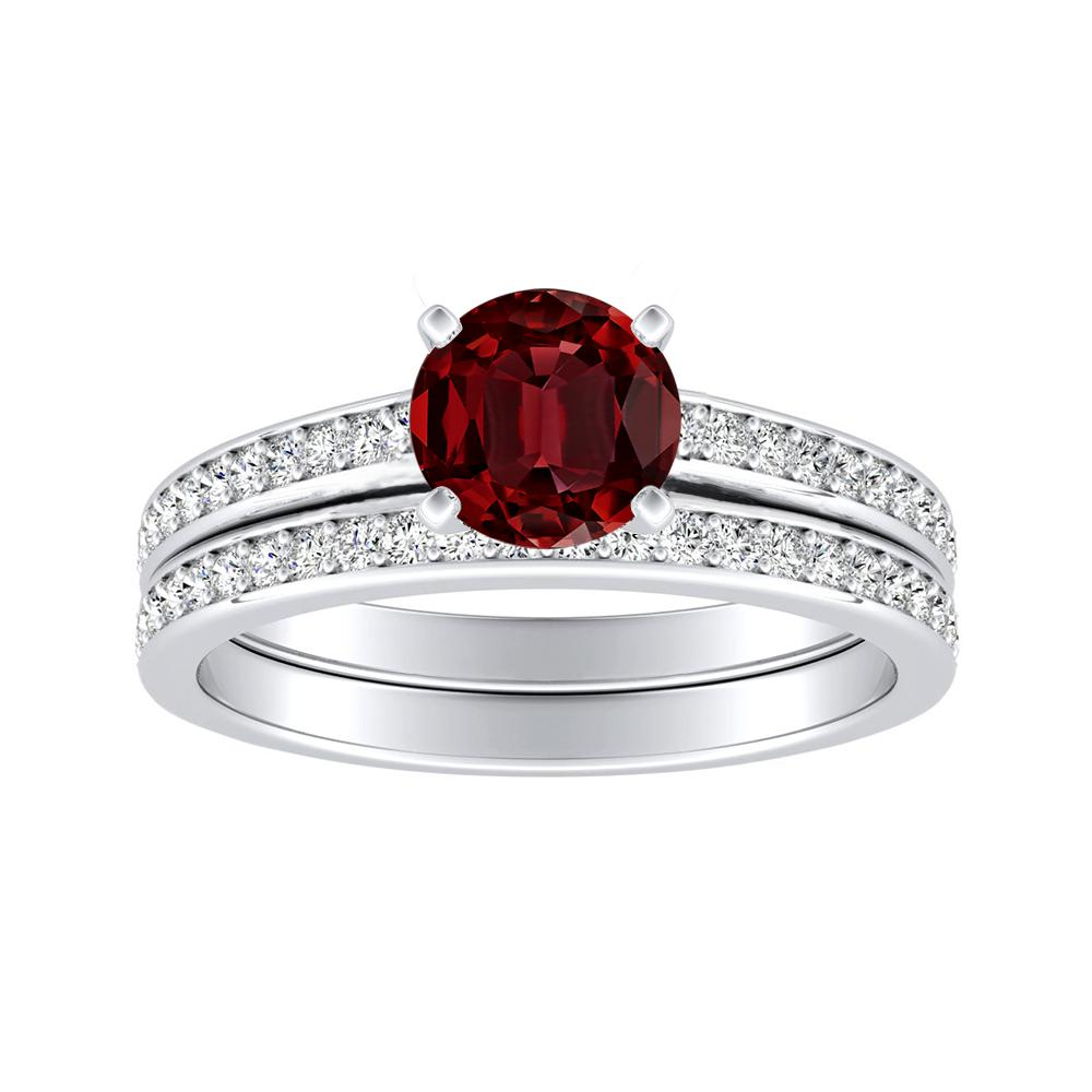 MILA Classic Ruby Wedding Ring Set In 14K White Gold With 0.50 Carat Round Stone