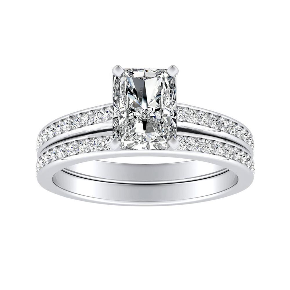 MILA Classic Diamond Wedding Ring Set In 14K White Gold