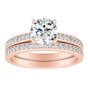 MILA  Classic  Moissanite  Wedding  Ring  Set  In  14K  Rose  Gold  With  0.50  Carat  Round  Stone