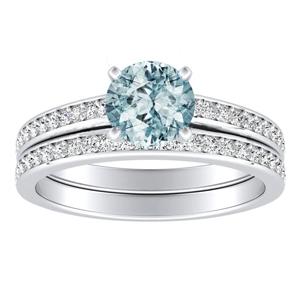 MILA  Classic  Aquamarine  Wedding  Ring  Set  In  14K  White  Gold  With  1.00  Carat  Round  Stone