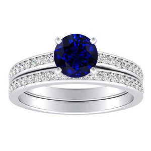 MILA  Classic  Blue  Sapphire  Wedding  Ring  Set  In  14K  White  Gold  With  0.50  Carat  Round  Stone