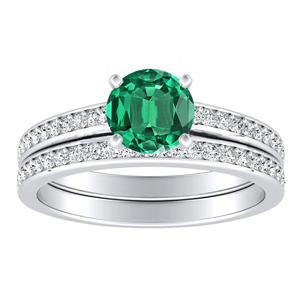 MILA  Classic  Green  Emerald  Wedding  Ring  Set  In  14K  White  Gold  With  0.50  Carat  Round  Stone