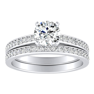 MILA  Classic  Moissanite  Wedding  Ring  Set  In  14K  White  Gold  With  0.50  Carat  Round  Stone