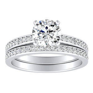 MILA Classic Diamond Wedding Ring Set In 14K White Gold