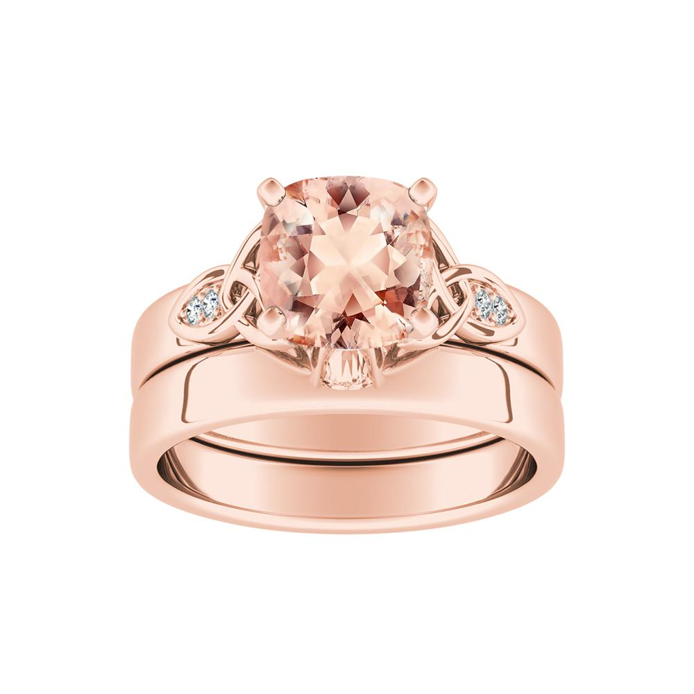 GIOVANNA Vintage Morganite Wedding Ring Set In 14K Rose Gold With 1.00 Carat Cushion Stone