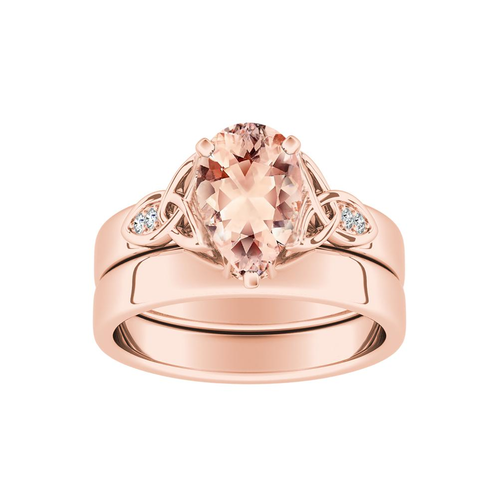 GIOVANNA Vintage Morganite Wedding Ring Set In 14K Rose Gold With 1.00 Carat Pear Stone