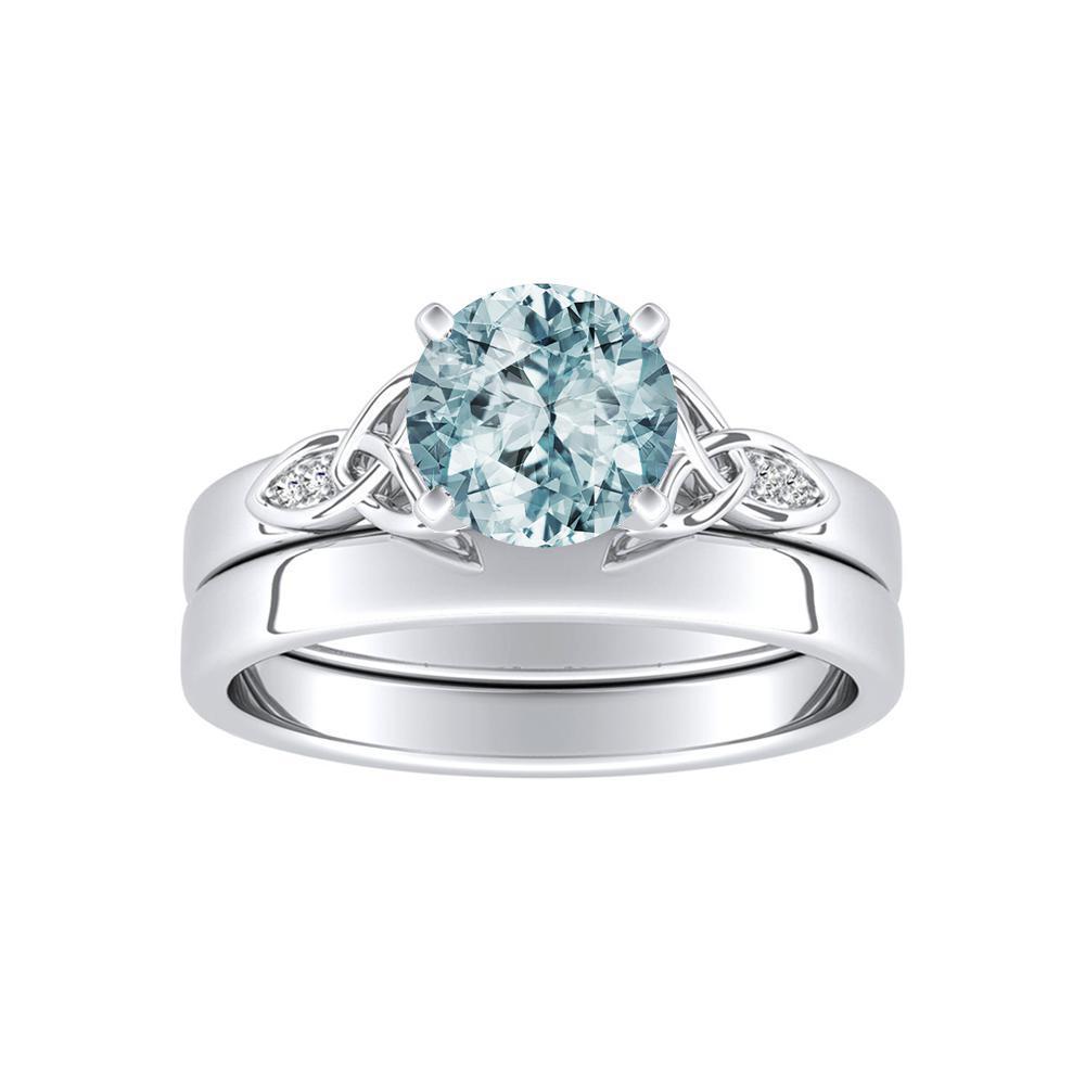 GIOVANNA Vintage Aquamarine Wedding Ring Set In 14K White Gold With 1.00 Carat Round Stone