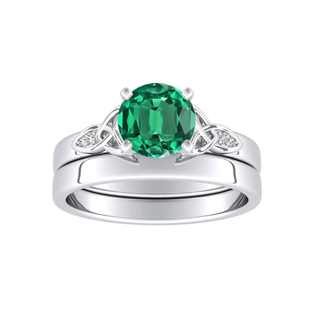 GIOVANNA Vintage Green Emerald Wedding Ring Set In 14K White Gold With 0.50 Carat Round Stone