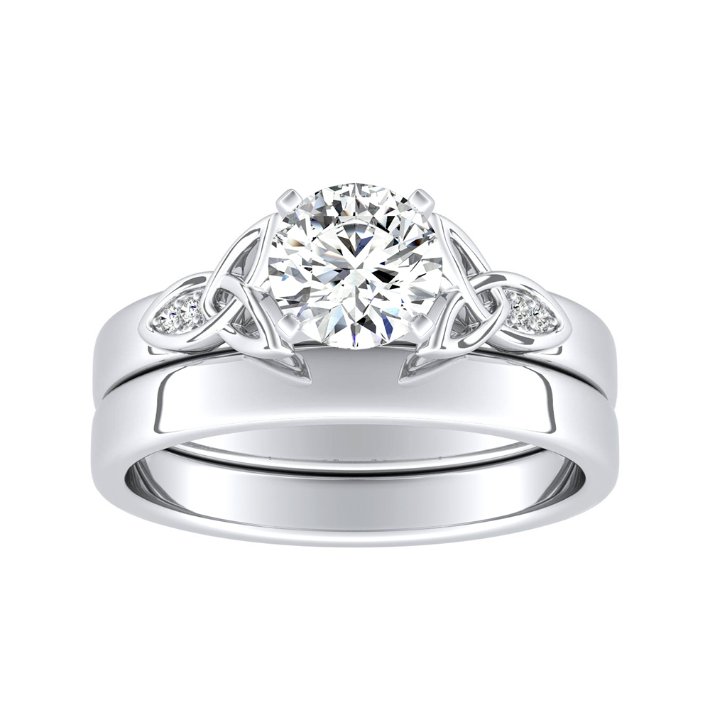 GIOVANNA Vintage Diamond Wedding Ring Set In 14K White Gold