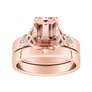 GIOVANNA  Vintage  Morganite  Wedding  Ring  Set  In  14K  Rose  Gold  With  1.00  Carat  Emerald  Stone