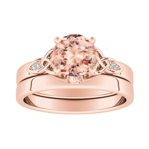 GIOVANNA  Vintage  Morganite  Wedding  Ring  Set  In  14K  Rose  Gold  With  1.00  Carat  Round  Stone