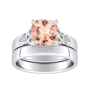 GIOVANNA  Vintage  Morganite  Wedding  Ring  Set  In  14K  White  Gold  With  1.00  Carat  Cushion  Stone