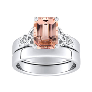 GIOVANNA  Vintage  Morganite  Wedding  Ring  Set  In  14K  White  Gold  With  1.00  Carat  Emerald  Stone