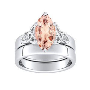 GIOVANNA  Vintage  Morganite  Wedding  Ring  Set  In  14K  White  Gold  With  1.00  Carat  Marquise  Stone