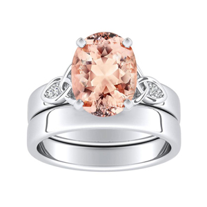 GIOVANNA  Vintage  Morganite  Wedding  Ring  Set  In  14K  White  Gold  With  1.00  Carat  Oval  Stone