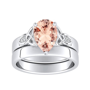 GIOVANNA  Vintage  Morganite  Wedding  Ring  Set  In  14K  White  Gold  With  1.00  Carat  Pear  Stone