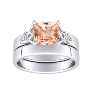 GIOVANNA  Vintage  Morganite  Wedding  Ring  Set  In  14K  White  Gold  With  1.00  Carat  Princess  Stone