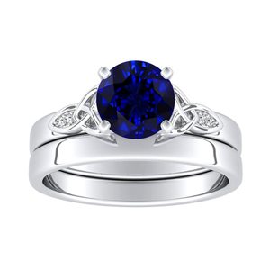 GIOVANNA  Vintage  Blue  Sapphire  Wedding  Ring  Set  In  14K  White  Gold  With  0.50  Carat  Round  Stone