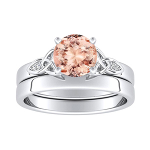 GIOVANNA  Vintage  Morganite  Wedding  Ring  Set  In  14K  White  Gold  With  1.00  Carat  Round  Stone