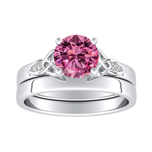 GIOVANNA  Vintage  Pink  Sapphire  Wedding  Ring  Set  In  14K  White  Gold  With  0.50  Carat  Round  Stone
